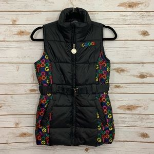 COOGI Insulated Puffer Black Belted Coat Vest